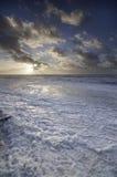 Puesta del sol durante tormenta del invierno Fotos de archivo libres de regalías