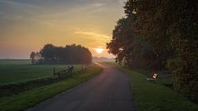 Puesta del sol durante un alza de octubre cerca de Ootmarsum los Países Bajos Fotografía de archivo libre de regalías