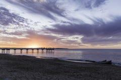 Puesta del sol del embarcadero de Torquay, Hervey Bay, QLD fotografía de archivo libre de regalías