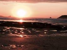 Puesta del sol en Imagen de archivo