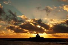 Puesta del sol en Abberfraw Imagen de archivo
