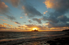 Puesta del sol en Abberfraw Imagenes de archivo