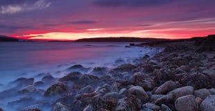 Puesta del sol en Acadia Fotos de archivo libres de regalías