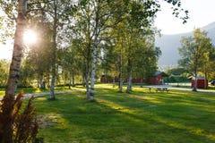 Puesta del sol en acampar Imágenes de archivo libres de regalías