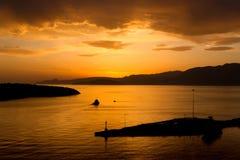 Puesta del sol en Agios Nikolaos foto de archivo