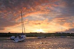 Puesta del sol en Alnmouth Imágenes de archivo libres de regalías