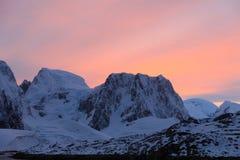 Puesta del sol en Ant3artida Fotos de archivo