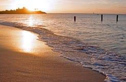 Puesta del sol en Antigua Imagen de archivo