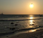 Puesta del sol en Aruba Imagen de archivo