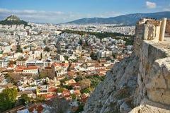 Puesta del sol en Atenas Fotos de archivo libres de regalías
