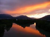 Puesta del sol en Austria Fotos de archivo