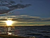 Puesta del sol en Balaton fotos de archivo