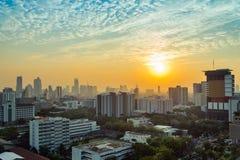 Puesta del sol en Bangkok Imágenes de archivo libres de regalías
