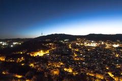 Puesta del sol en Barcelona Fotos de archivo libres de regalías