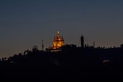 Puesta del sol en Barcelona Imagenes de archivo