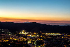 Puesta del sol en Barcelona Imágenes de archivo libres de regalías