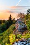 Puesta del sol en Baviera en las montañas del Jura franco Imágenes de archivo libres de regalías