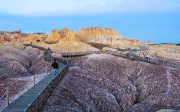 Puesta del sol en Beitun en Xinjiang, China Fotografía de archivo libre de regalías