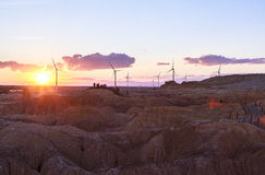Puesta del sol en Beitun en Xinjiang, China Fotografía de archivo
