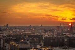 Puesta del sol en Berlín occidental Fotografía de archivo libre de regalías