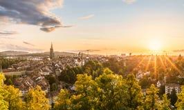 Puesta del sol en Berna imágenes de archivo libres de regalías