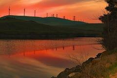 Puesta del sol en Bethany Reservoir Imagen de archivo libre de regalías