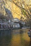 Puesta del sol en Blagaj Teke, Bosnia y Herzegovina foto de archivo libre de regalías