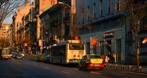 Puesta del sol en Bucarest imagen de archivo