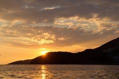 Puesta del sol en Budva, Montenegro Fotografía de archivo
