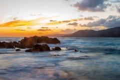 Puesta del sol en Córcega Foto de archivo libre de regalías