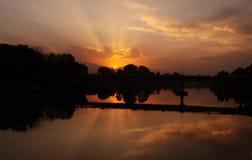 Puesta del sol en Cachemira fotografía de archivo