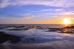 Puesta del sol en camogli Foto de archivo libre de regalías