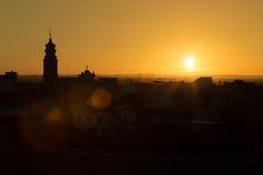 Puesta del sol en campana Fotos de archivo