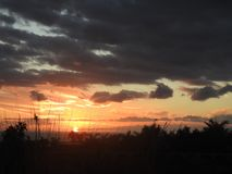 Puesta del sol en Canarias de Tenerife imagen de archivo libre de regalías