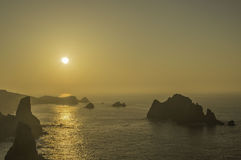 Puesta del sol en Cantabria Imágenes de archivo libres de regalías