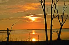 Puesta del sol en Carhué Fotos de archivo libres de regalías