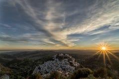 Puesta del sol en Casares Fotos de archivo libres de regalías
