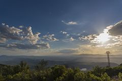 Puesta del sol en Castellon, España Foto de archivo libre de regalías