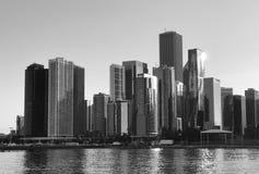 Puesta del sol en Chicago Imagenes de archivo