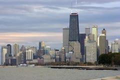 Puesta del sol en Chicago fotos de archivo