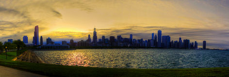 Puesta del sol en Chicago imagen de archivo