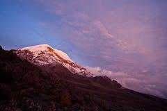 Puesta del sol en Chimborazo Foto de archivo libre de regalías