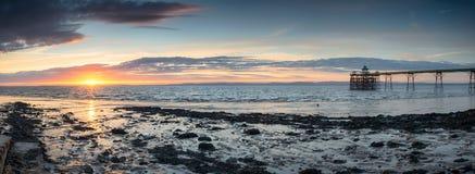 Puesta del sol en Clevedon Foto de archivo