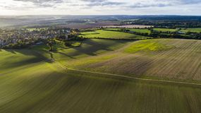 Puesta del sol en Codicote en Hertfordshire Inglaterra Foto de archivo libre de regalías