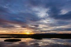 Puesta del sol en colores pastel en Islandia Foto de archivo libre de regalías