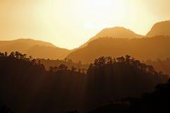 Puesta del sol en Copan Imagen de archivo