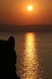 Puesta del sol en Crete fotografía de archivo