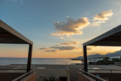 Puesta del sol en Crete Foto de archivo