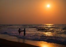 Puesta del sol en Crete Verano de 2015 Grecia imagen de archivo