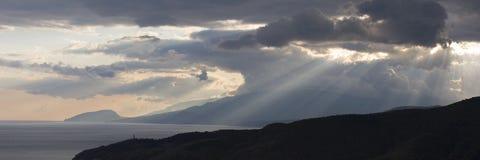 Puesta del sol en Crimea fotos de archivo